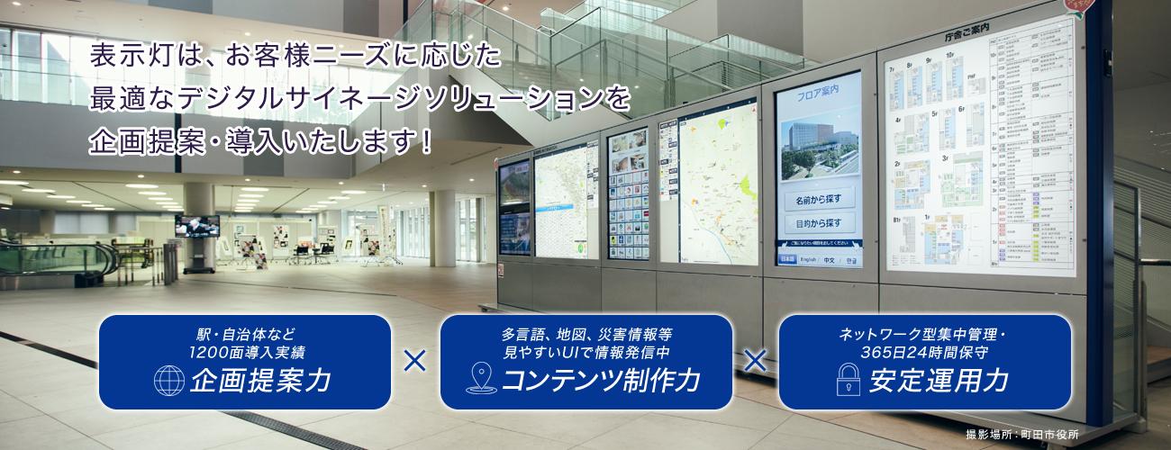 表示灯は、お客様ニーズに応じた最適なデジタルサイネージソリューションを企画提案・導入いたします! 駅・自治体など1200面導入実績 企画提案力 多言語、地図、災害情報等 見やすいUIで情報発信中 コンテンツ制作力 ネットワーク型全国1200面運用・365日24時間保守 安定運用力